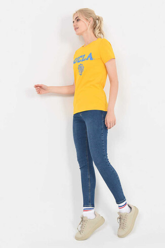 UCLA - MOJAVE Sarı Bisiklet Yaka Kadın T-shirt