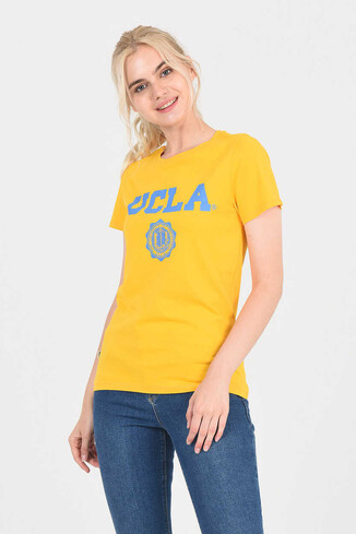 UCLA - MOJAVE Sarı Bisiklet Yaka Kadın T-shirt (1)