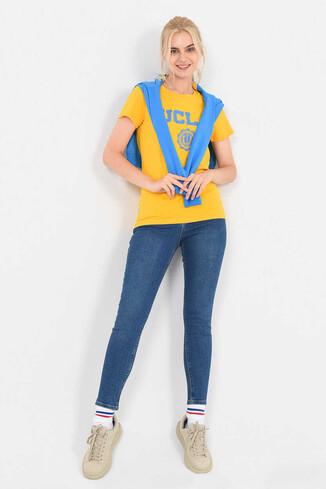 MOJAVE Sarı Bisiklet Yaka Kadın T-shirt - Thumbnail (5)