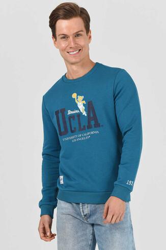 UCLA - MONTE Mavi Bisiklet Yaka Baskılı Erkek Sweatshirt