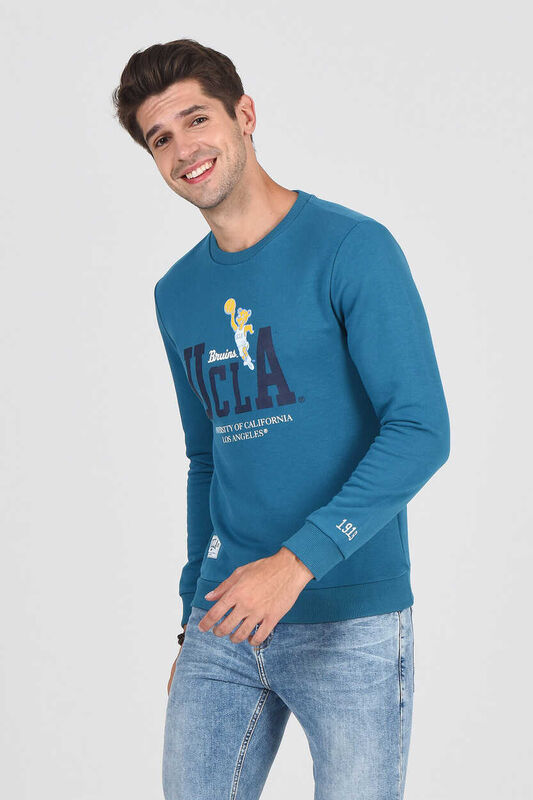 MONTE Mavi Bisiklet Yaka Baskılı Erkek Sweatshirt - Thumbnail