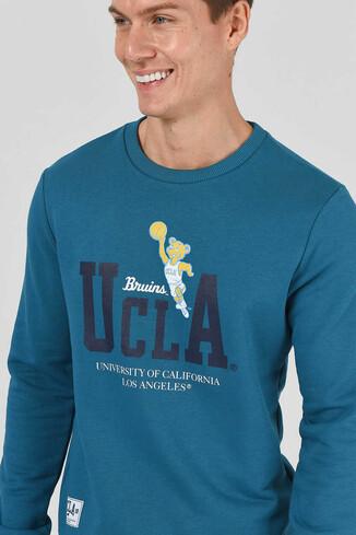 UCLA - MONTE Mavi Bisiklet Yaka Baskılı Erkek Sweatshirt (1)