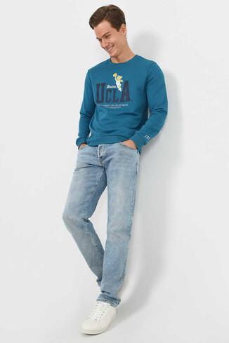 MONTE Mavi Bisiklet Yaka Baskılı Erkek Sweatshirt - Thumbnail (2)