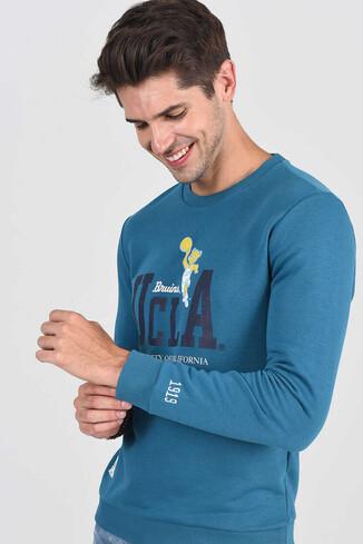 MONTE Mavi Bisiklet Yaka Baskılı Erkek Sweatshirt - Thumbnail (6)