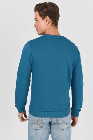 MONTE Mavi Bisiklet Yaka Baskılı Erkek Sweatshirt - Thumbnail (3)