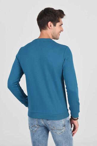 MONTE Mavi Bisiklet Yaka Baskılı Erkek Sweatshirt - Thumbnail (4)