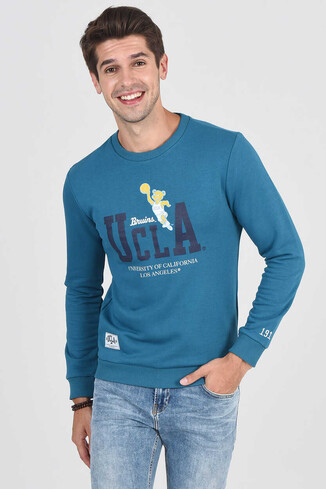 MONTE Mavi Bisiklet Yaka Baskılı Erkek Sweatshirt - Thumbnail (5)