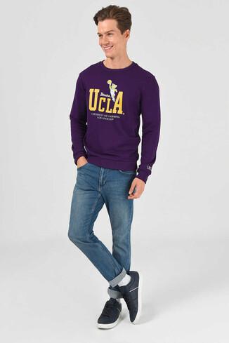 UCLA - MONTE Mor Bisiklet Yaka Baskılı Erkek Sweatshirt (1)