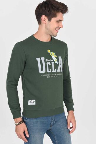 UCLA - MONTE Yeşil Bisiklet Yaka Baskılı Erkek Sweatshirt