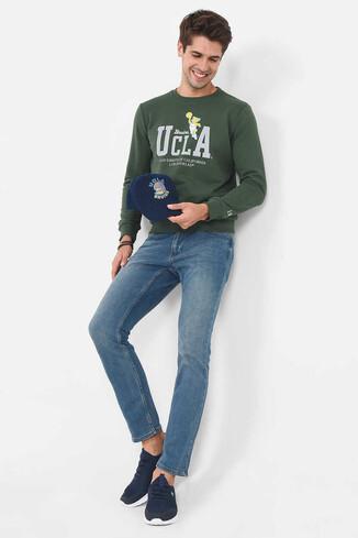 UCLA - MONTE Yeşil Bisiklet Yaka Baskılı Erkek Sweatshirt (1)