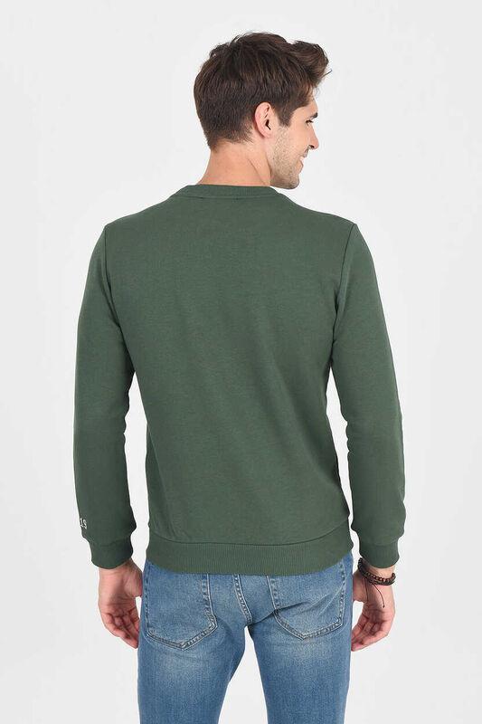 MONTE Yeşil Bisiklet Yaka Baskılı Erkek Sweatshirt - Thumbnail