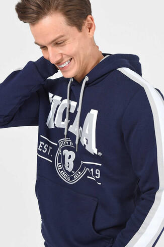 UCLA - MORENO Lacivert Kapüşonlu Baskılı Erkek Sweatshirt