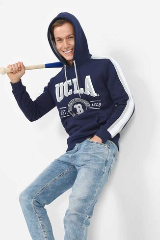 UCLA - MORENO Lacivert Kapüşonlu Baskılı Erkek Sweatshirt (1)