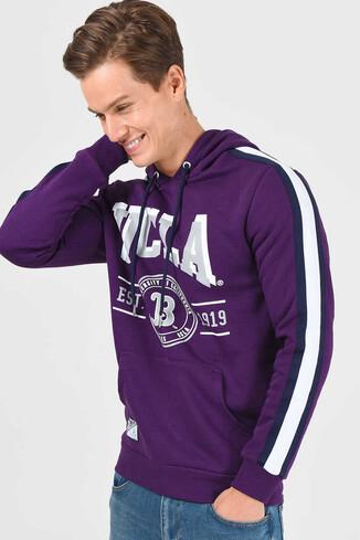 UCLA - MORENO Mor Kapüşonlu Baskılı Erkek Sweatshirt