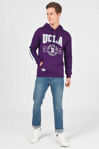 UCLA - MORENO Mor Kapüşonlu Baskılı Erkek Sweatshirt (1)