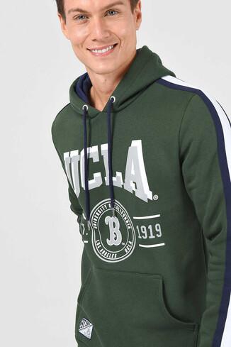 UCLA - MORENO Yeşil Kapüşonlu Baskılı Erkek Sweatshirt
