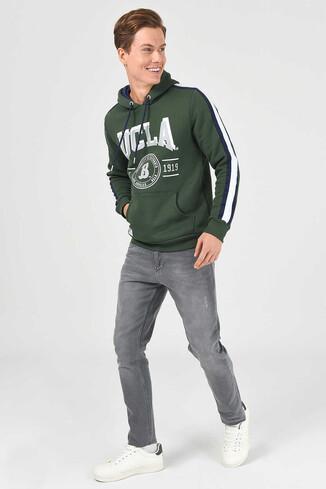 UCLA - MORENO Yeşil Kapüşonlu Baskılı Erkek Sweatshirt (1)