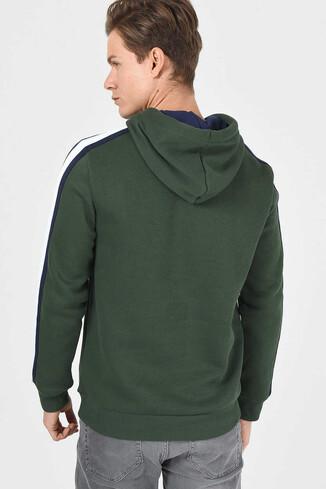 MORENO Yeşil Kapüşonlu Baskılı Erkek Sweatshirt - Thumbnail (3)