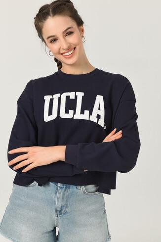 UCLA - NAPA Lacivert Oversize Bisiklet Yaka Baskılı Kadın Sweatshirt (1)