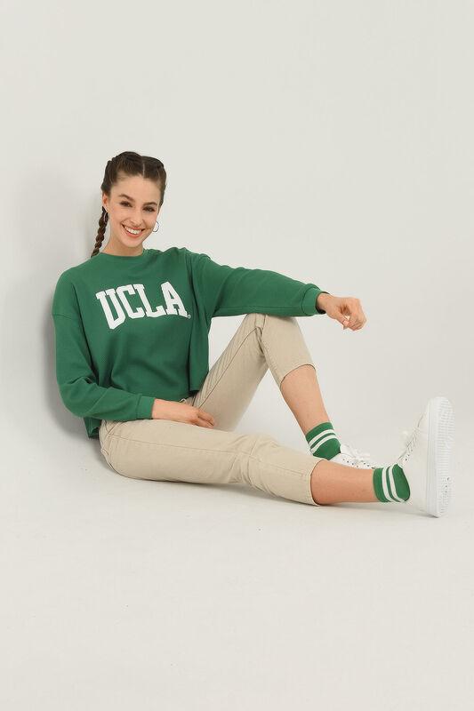 NAPA Yeşil Oversize Bisiklet Yaka Baskılı Kadın Sweatshirt - Thumbnail