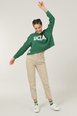 UCLA - NAPA Yeşil Oversize Bisiklet Yaka Baskılı Kadın Sweatshirt (1)