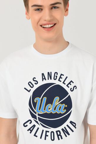 UCLA - NEWARK Beyaz Bisiklet Yaka Baskılı Erkek Oversize Tshirt (1)