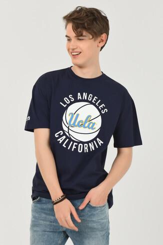 UCLA - NEWARK Lacivert Bisiklet Yaka Baskılı Erkek Oversize Tshirt