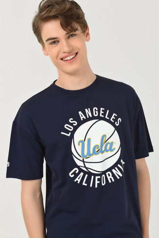 UCLA - NEWARK Lacivert Bisiklet Yaka Baskılı Erkek Oversize Tshirt (1)