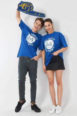 UCLA - NEWARK Mavi Bisiklet Yaka Baskılı Erkek Oversize Tshirt (1)