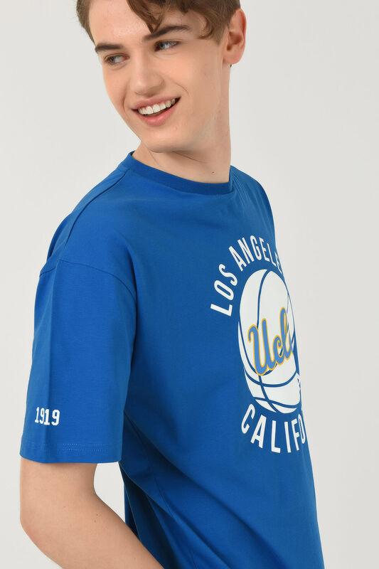 NEWARK Mavi Bisiklet Yaka Baskılı Erkek Oversize Tshirt - Thumbnail