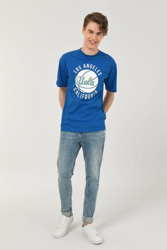 NEWARK Mavi Bisiklet Yaka Baskılı Erkek Oversize Tshirt - Thumbnail (3)