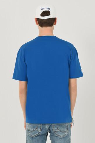 NEWARK Mavi Bisiklet Yaka Baskılı Erkek Oversize Tshirt - Thumbnail (4)
