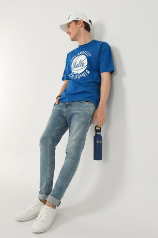 NEWARK Mavi Bisiklet Yaka Baskılı Erkek Oversize Tshirt - Thumbnail (5)