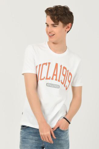 UCLA - NORDEN Beyaz Bisiklet Yaka Erkek T-shirt