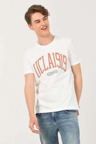 UCLA - NORDEN Beyaz Bisiklet Yaka Erkek T-shirt (1)