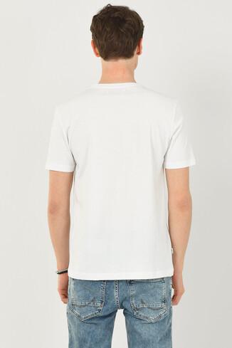 NORDEN Beyaz Bisiklet Yaka Erkek T-shirt - Thumbnail (3)