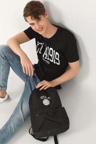 NORDEN Siyah Bisiklet Yaka Erkek T-shirt - Thumbnail (4)
