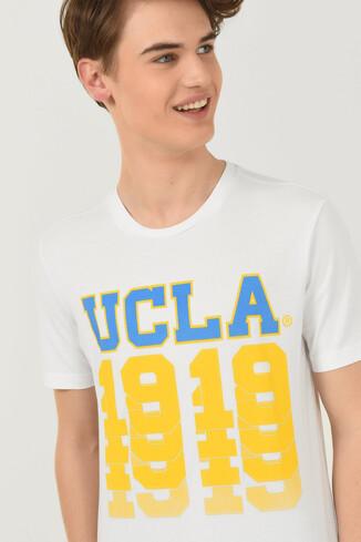 UCLA - NORVATO Beyaz Bisiklet Yaka Erkek T-shirt (1)