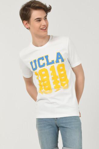 NORVATO Beyaz Bisiklet Yaka Erkek T-shirt - Thumbnail (2)
