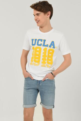 UCLA - NORVATO Beyaz Bisiklet Yaka Erkek T-shirt
