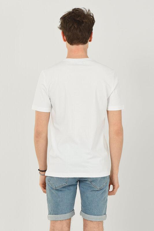 NORVATO Beyaz Bisiklet Yaka Erkek T-shirt - Thumbnail