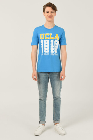 NORVATO Mavi Bisiklet Yaka Erkek T-shirt - Thumbnail (2)
