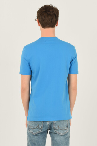 NORVATO Mavi Bisiklet Yaka Erkek T-shirt - Thumbnail (3)