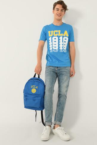 NORVATO Mavi Bisiklet Yaka Erkek T-shirt - Thumbnail (4)