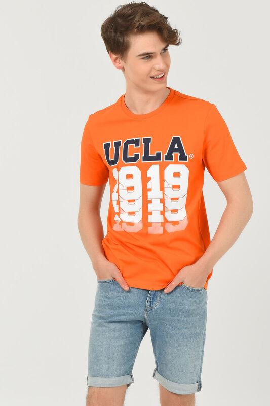 NORVATO Turuncu Bisiklet Yaka Erkek T-shirt - Thumbnail