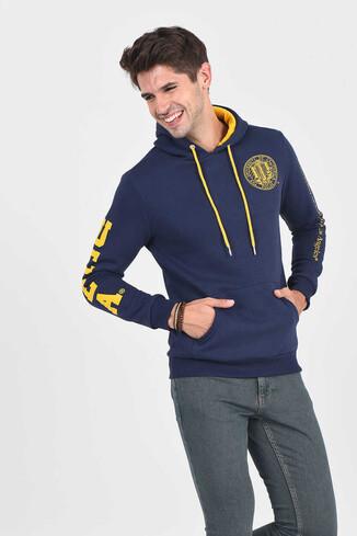 UCLA - OBISPO Lacivert Kapüşonlu Baskılı Erkek Sweatshirt