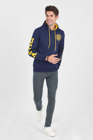 UCLA - OBISPO Lacivert Kapüşonlu Baskılı Erkek Sweatshirt (1)