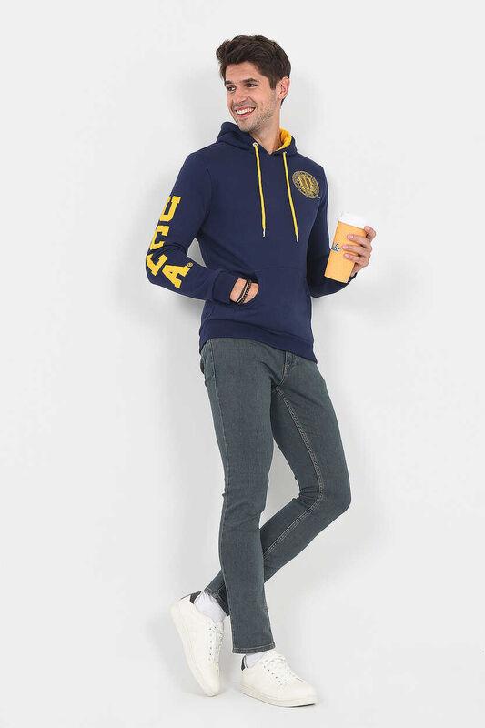 OBISPO Lacivert Kapüşonlu Baskılı Erkek Sweatshirt - Thumbnail