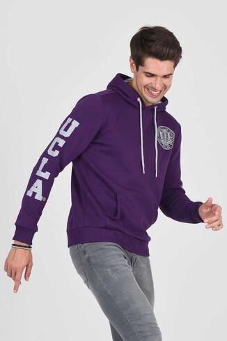 UCLA - OBISPO Mor Kapüşonlu Baskılı Erkek Sweatshirt (1)