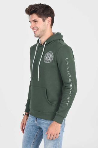 UCLA - OBISPO Yeşil Kapüşonlu Baskılı Erkek Sweatshirt